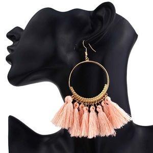 Jewelry - Boho Pink Dangle Tassel Earrings